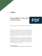 De La Possibilite a Existence Kant Critique de Leibniz
