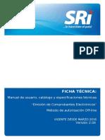 FICHA TECNICA COMPROBANTES ELECTRO´NICOS offline versio´n 012016