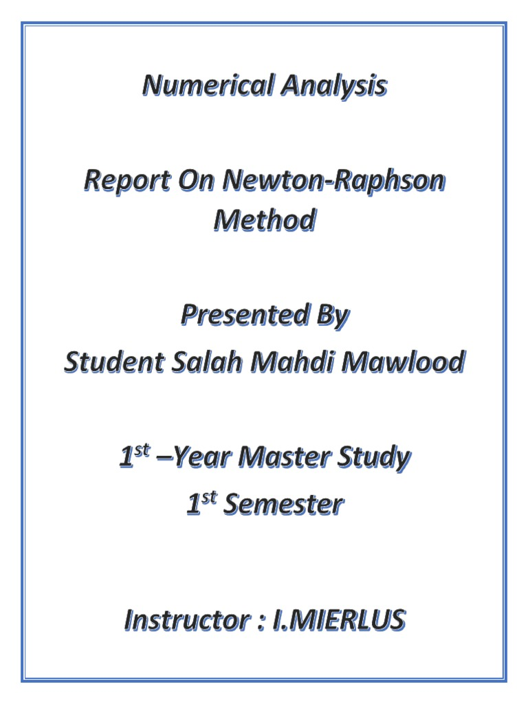 Report on Newton Raphson Method PDF | Derivative | Variable