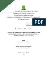 Gestión de Marketing Para Incrementar Las Ventas en La Empresa Sugar Cakes Del Cantón Quevedo