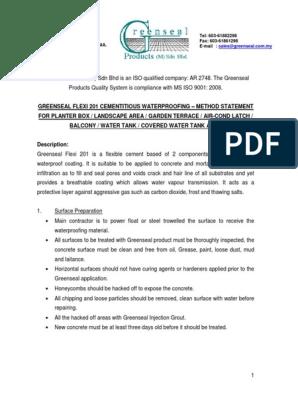 GREENSEAL Flexi 201 - Method Statement | Concrete | Building Materials