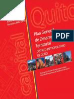 Plan General de Desarrollo Territorial del Distrito Metropolitano de Quito 2000 - 2020