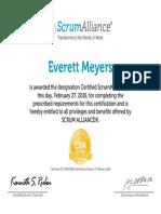 Everett Meyers-ScrumAlliance CSM Certificate