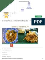 Chicken Pulao (Hyderabadi Style) Recipe