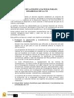 Resumen de La Politica Nacional Para El Desarrollo de La Cti