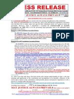 20160515-Press Release Mr g. h. Schorel-hlavka o.w.b. Issue - Retrospective, Etc & the Constitution