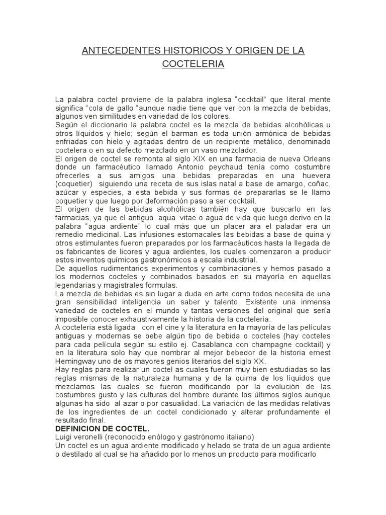 Antecedentes Historicos y Origen de La Cocteleria
