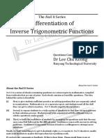 Differentiation - Inverse Trigonometric Functions - Questions