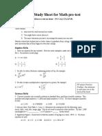Study Sheet for Math PreTest