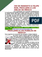 Proclama a La Revocacion de Mandato a Felipe Calderon