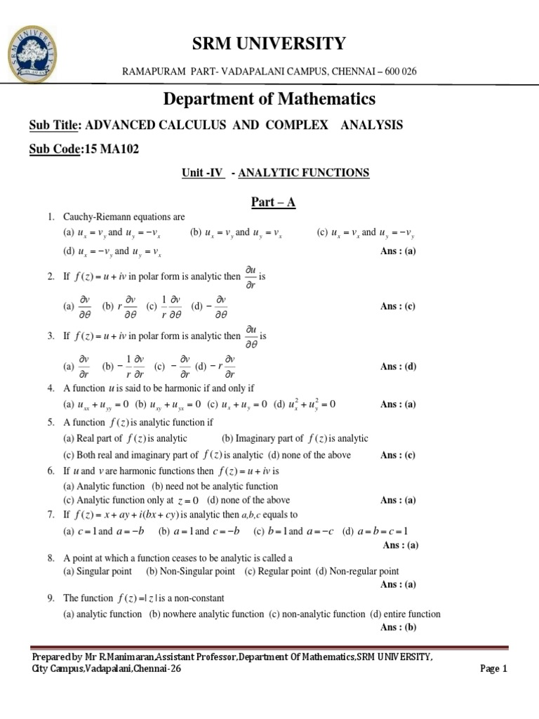 Analytic Functions MCQ +Notes   Equations   Mathematical