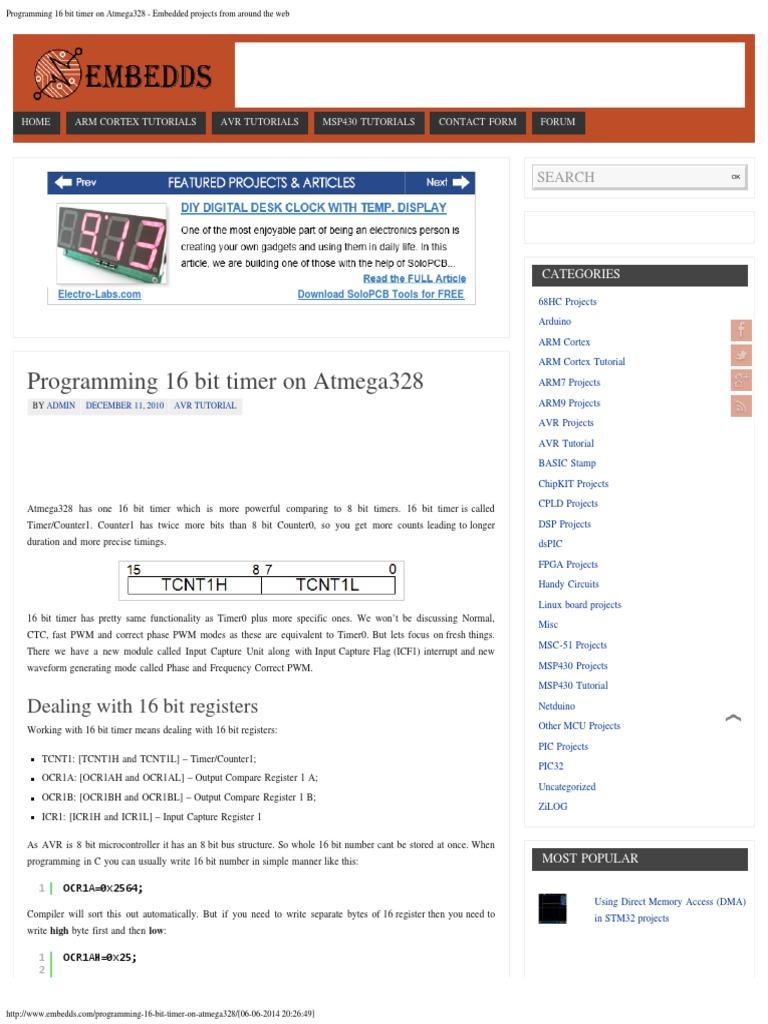 Programming 16 Bit Timer on Atmega328 | Microcontroller