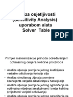 Analiza Osjetljivosti Solver Table
