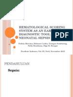Sistem Skoring Hematologi Sebagai Alat Diagnosis Dini Sepsis