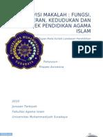 Revisi Makalah Fungsi, Peran, Kedudukan Dan Prospek Pendidikan Agama Islam
