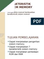 Karakteristik Sistem Memory
