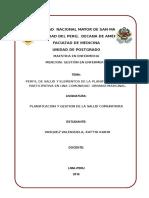 Perfil de Salud y Elementos de La Planificación Local Participativa en Una Comunidad Urbano-marginal.