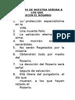 PROMESAS DE NUESTRA SEÑORA A LOS QUE  RECEN EL ROSARIO