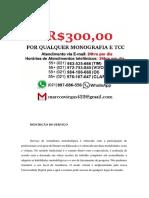 Belo Horizonte MONOGRAFIA E TCC PARA TODOS OS CURSOS R$300,00