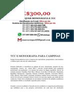 Campinas MONOGRAFIA E TCC PARA TODOS OS CURSOS R$300,00