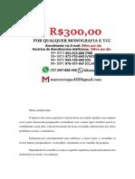 Guarulhos MONOGRAFIA E TCC PARA TODOS OS CURSOS R$300,00