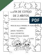 Lista de Cotejo 2 Añitos Imprimir