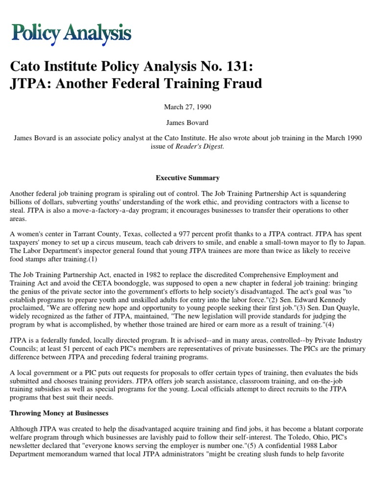 JTPA: Another Federal Training Fraud, Cato Policy Analysis