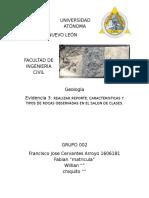 Características y tipo de rocas FRANCISCO CERVANTES (FIC)