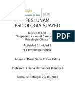 Analisis Entrevista Psicologo Clinico