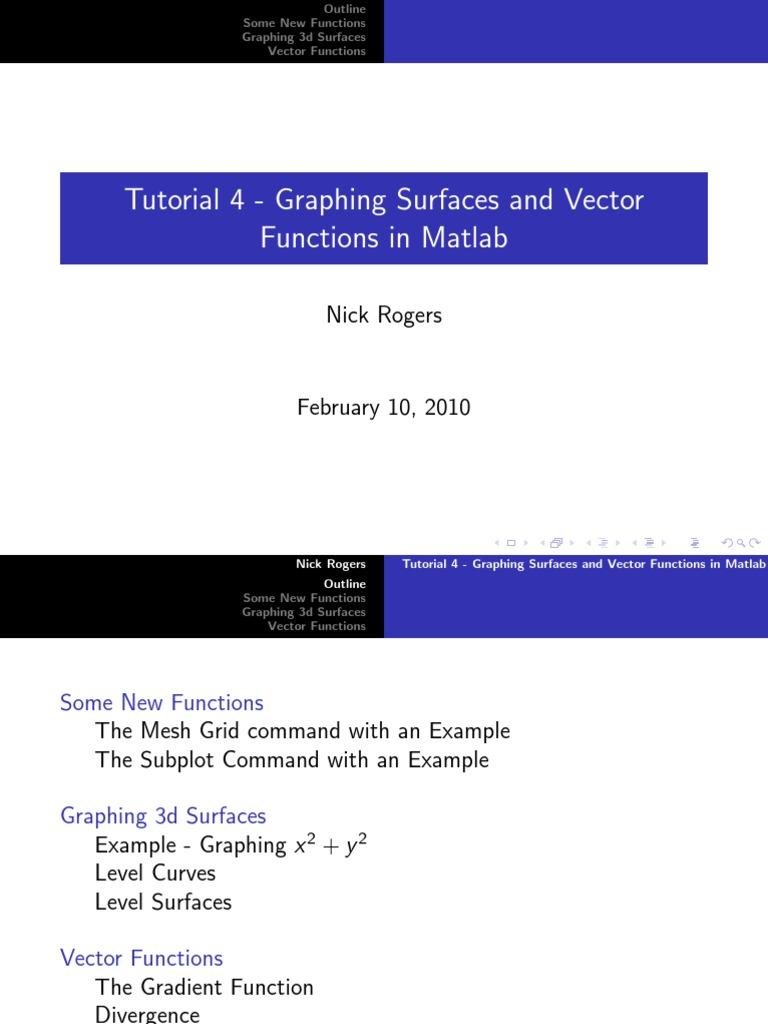 Tutorial matlab | Divergence | Gradient