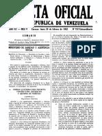 Gaceta Oficial Extraordinaria 752 Del 26-2-1962