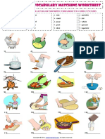 Cooking Verbs Esl Vocabulary Matching Exercise Worksheet