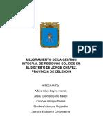 Mejoramiento de La Gestión Integral de Residuos Sólidos en El Distrito de Jorge Chávez