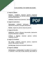 CLASIFICACION DE LA PRUEBA Y MEDIOS DE PRUEBA - PROBATORIO GENERAL.