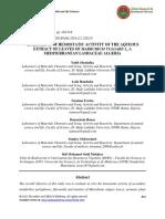 Assessment of Hemostatic Activity of the Aqueous Extract of Leaves of Marrubium Vulgare l a Mediterranean Lamiaceae Algeria