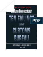 Ten Failings of the  Customs Bureau