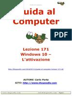 Guida al Computer - Lezione 171 - Windows 10 - L'attivazione