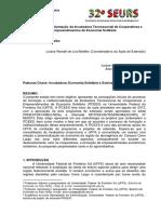 O Processo da Implantação da Incubadora Tecnossocial de Cooperativas e Empreendimentos de Economia Solidária