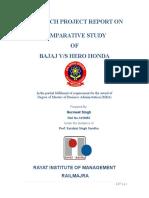 Mba Project Report on Bajaj vs Hero Honda Project Report