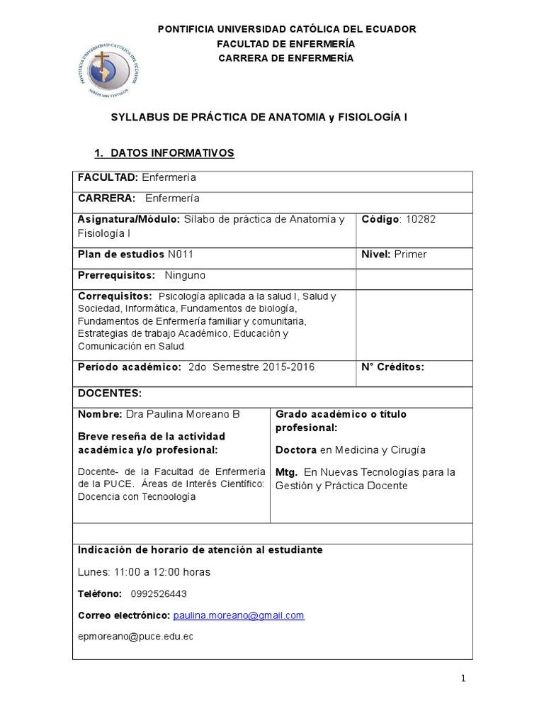Syllabus Prácticas Anatomía y Fisiología I_Moreano