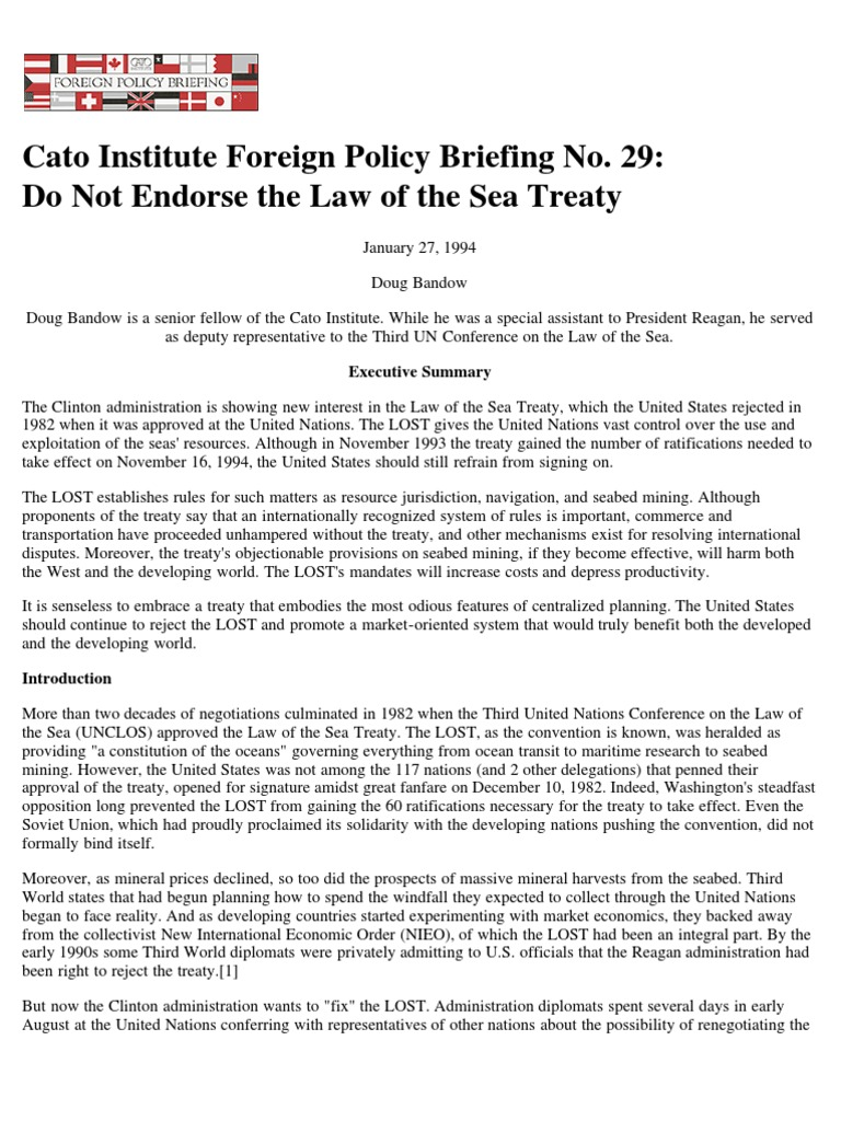 Do Not Endorse The Law Of Sea Treaty Cato Foreign Policy Briefing