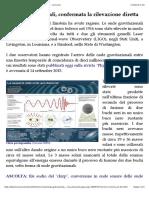 Onde Gravitazionali, Confermata La Rilevazione Diretta - Le Scienze