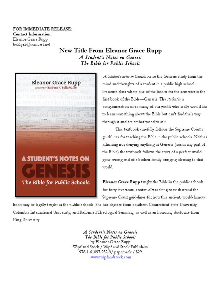 Rupp Press Kit | Bible | Book Of Genesis