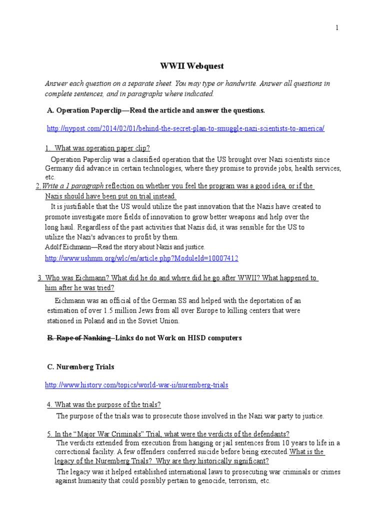 ap world wwii webquest updated 1 | Adolf Eichmann | Nazi ...