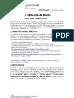 Certificacion de Acreencias Por Coparticipacion