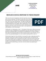 Westlake BOE Response to Pledge
