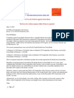 10-05-12  Dr Zernik's Letter to Office of Comptroller of the Currency Re Union Bank