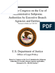 Report to Congress on the Use of Administrative Subpoena Authorities by Executive Branch Agencies and Entities | US Department of Justice