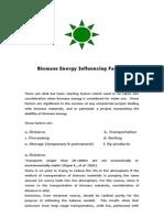 Biomass Energy Influencing Factors