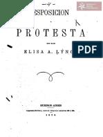 Exposición y protesta que hace Elisa A. Lynch, Buenos Aires, Imprenta Rural año 1875